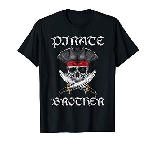 Pirate Brother Funny Skull Adult Halloween Costume T-Shirt