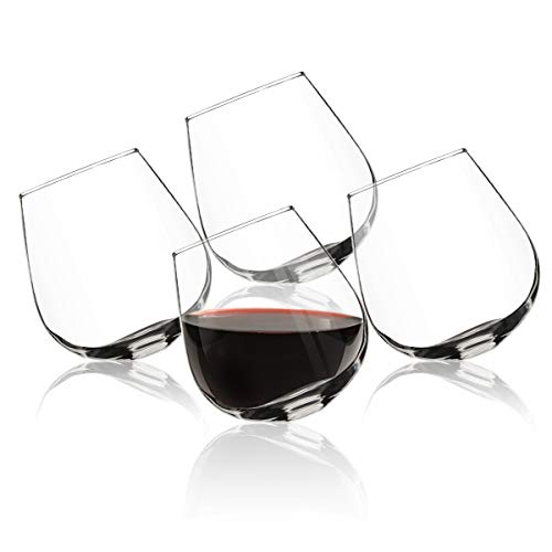 e Glass (Set of 4)- Rolling Tumbler for Drink Aeration- Cocktail Party & Event Hosting Glasses- Sits Upright or Spill Proof Tilt ()