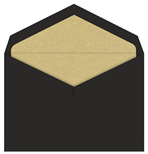 Black Lined Envelope - Jumbo Gold Leaf Metallic Single Lined Black Envelopes, 25 pack