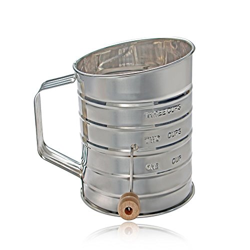 ShengHai 3 Cup Stainless Steel Rotary Hand Crank Baking Flour Sifter (Silver) (Sifter Silver)