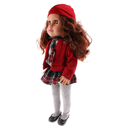 - MonkeyJack 45CM Fashion Complete Look Vinyl Newborn Doll Girl Nursery Pretend Play Toy Birthday Gift in Red Outfit with Hat