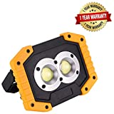 JINHODY LED Work Light| Rechargeable 30W 1500lm Flashlight| Portable Waterproof Outdoor Spot Lights for Camping Hiking Car Repairing Workshop Job Site SOS Emergency| Round