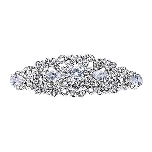 - EVER FAITH Silver-Tone Austrian Crystal CZ Bridal Art Deco Flower Vine Hair Barrette Clip Clear