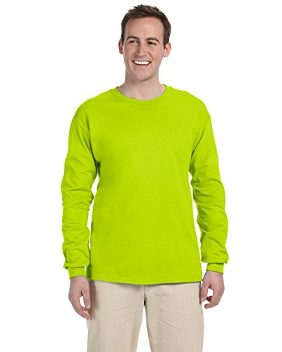 Gildan 6.1 oz. Ultra Cotton Long-Sleeve T-Shirt>L NEW SAFETY GREEN G240