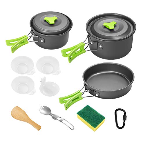 Gonex Camping Cookware Set Mess Kit, Backpacking Gear Cooking Equipment 13pcs, Stackable Portable Non Stick Pot Pan Cook for Outdoors Hiking