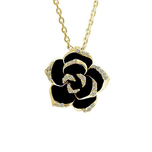 Windoson Women Crystal Necklaces Black Rose Flower Shaped Earrings Made of Crystal from Swarovki Pendant Jewelry for Girl Birthday Wedding Party Gift (Gold) ()