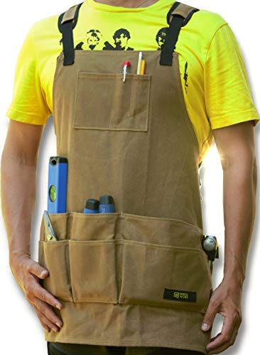 Waxed Canvas Woodworking Apron - Premium Quality Work Apron To Hold Tools...