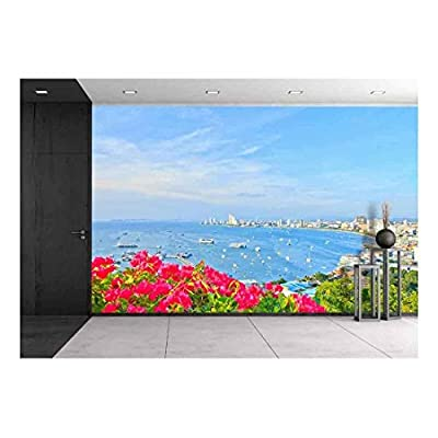 Alluring Composition, a Bird'S View over the Beach of Pattaya City in Chonburi Evening and Front Flower Thailand, Premium Product
