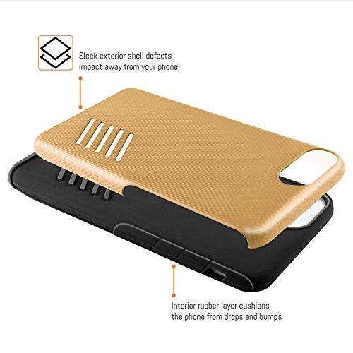 Funda iPhone 8, Orzly® Grip-Pro Case para iPhone 8/iPhone 7 (4,7 Pulgadas) - Funda duradera y ligera Capa Doble de mayor agarre y defensa - GRIS ESPACIAL ORO CHAMPAGNE GripPro para iPhone 7