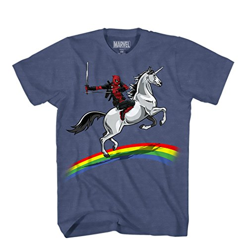 Marvel Men's Deadpool Riding A Unicorn On A Rainbow T-Shirt, Denim Heather, Large