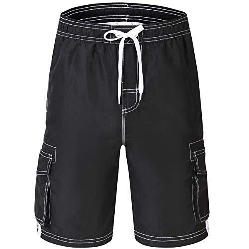 Akula Big Boys Quick Dry Swimming Trunks Swim Surf Board Shorts with Mesh Lining Black Size ()