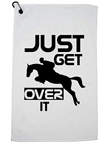 Hollywood Thread Horseback Jumping Just Get Over It Equestrian Golf Towel with Carabiner Clip ()