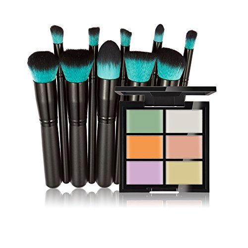 Huamianli Makeup Cosmetic Kit Face Makeup Cream Primer Tools 6 Colors Concealer Contour Palette + 10Pcs Cosmetic Brushes Set