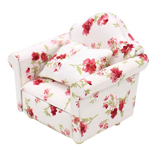 JETEHO 1/12 Dollhouse Miniature Sofa Single Couch Arm Chair Furniture Model Living Room Accessories (Flower Pattern)