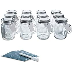 [Launch Sale] Glass Favor Jars with Lids 3.4oz - Mini Mason Jar Wedding Favors Bottles with Chalkboard Labels, Chalk Pen, Personalized Tags and String - [12pc Bulk Set] Spices, Candy