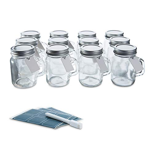 Glass Favor Jars with Lids and Handles 3.4oz - Mini Mason Jar Favors Bottles with Chalkboard Labels, Chalk Pen, Personalized Tags and String - [12pc Bulk Set] Spices, Candy -