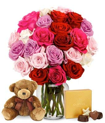 Flowers - Two Dozen Assorted Sweetheart Roses with Godiva & Bear (Free Vase Included) ()