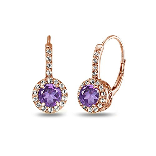 Rose Gold Flashed Sterling Silver African Amethyst & White Topaz Round Dainty Halo Leverback Earrings - African White Gold Ring