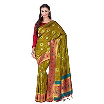 84fbf0339e68f1 Mimosa Art Kuppdam Wedding Silk Saree Kanjivarm Style with Contrast Blouse  Color  Green (4314