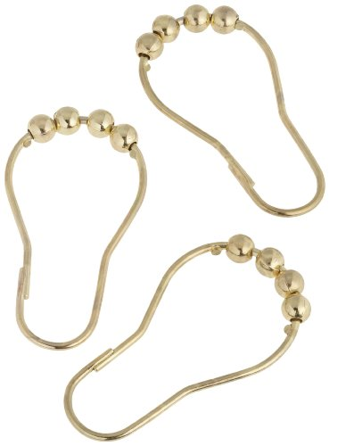 Carnation Home Fashions Roller Ball Type Shower Curtain Hook, Brass