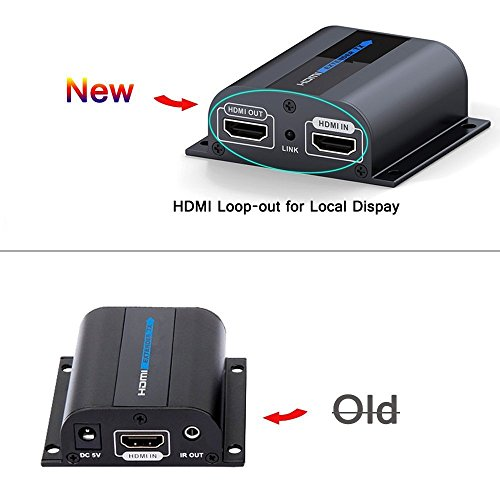 [OceanHeart LKV372PRO 1080P HDMI Network Extender IR 60m/196ft Over Single Cat6/6a/7 Cable with Loop-out for Local Display/Monitoring Function, Plug&Play, IR Remote Control - W/One More HDMI Output] (1080p Hdmi Extender)
