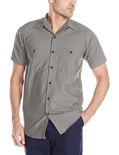 Red Kap Men's Industrial Work Shirt, Regular Fit, Short Sleeve, Grey, -