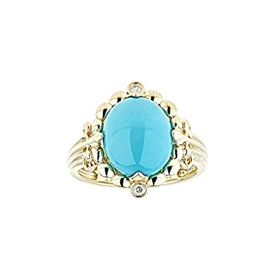 14k Yellow Gold Oval-cut Turquoise and Diamond Ring by Gin and Grace