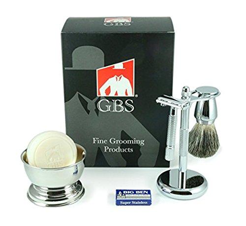 GBS Premium Men's Wet Shaving Kit - Butterfly DE Safety Razor,