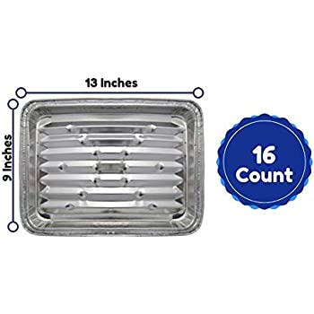2703afb137c Disposable Aluminum Foil Grill Tray Liner Pans For Broiling, Baking Cooking  And Grilling 9 X 13 Inches Pack Of 16