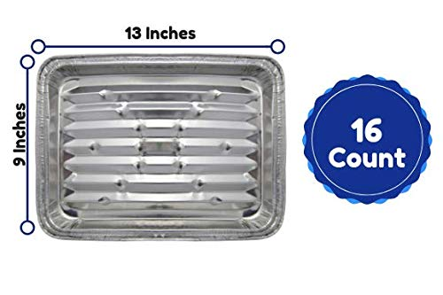 Disposable Aluminum Foil Grill Tray Liner Pans For Broiling, Baking Cooking And Grilling 9 X 13 Inches Pack Of 16