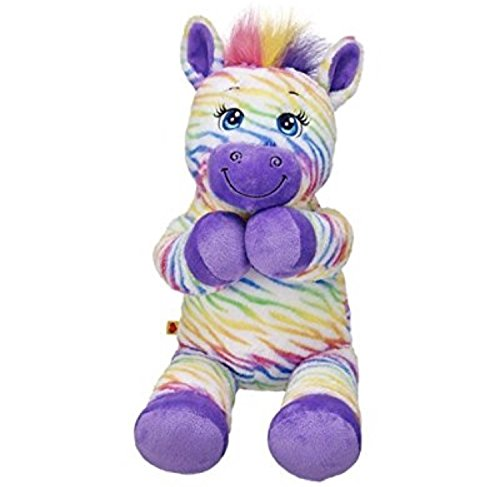 Build a Bear Workshop Rainbow Style Zebra Stuffed Animal, 17 in.