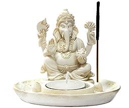 Lord Ganesha Incense Burner and Votive T-light Candle Holder Meditation Figurine