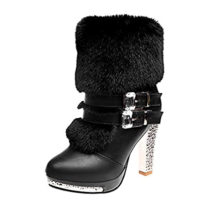 Image Unavailable. Image not available for. Color  GOP Store Heels Women s  Winter Leather Ankle Boots ... cb0ed7f1a