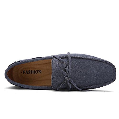 gris Mocasines hombre de para Zapatos shoes Casual Cuero Planos SHELAIDON men loafers P4xpnwIdXX
