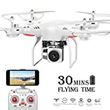 Benyi Long Flight Time RC Drone,WiFi 720P Wide-Angle HD Camera Live Video RC Quadcopter with Altitude Hold, Gravity Sensor Function, RTF and Easy to Fly for Beginner(with 3 Batteries and 2 Motors)