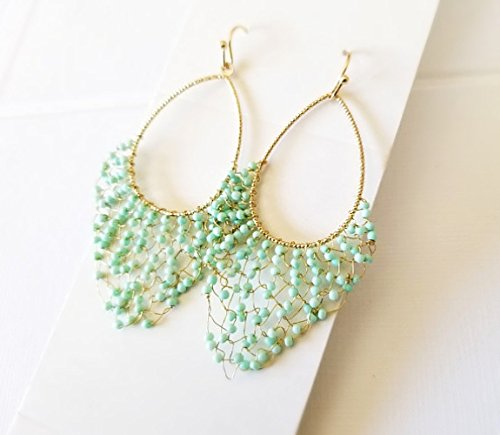 Mint blue wired Earrings, Artisanal beaded Earrings, Cascading Dangle Earrings, Summer (Cascading Dangle Earrings)
