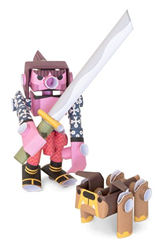 PIPEROID Kojiro & Butcher Paper Craft Robot kit from Japan - Samurai Warrior & His Bulldog