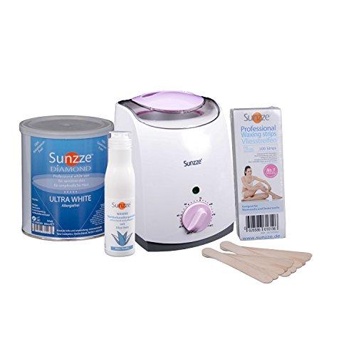 Wachs Dosen Erhitzer mit 800 ml Allergiefreie Warmwachs Vliesstreifen, Spatel und Lotion von Sunzze