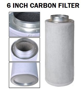"""Viagrow V6CF 6"""" Carbon Air filter with Flange 125-250 CFM Exhaust"""