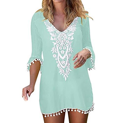 Aniywn Women Half Sleeve Lace Crochet Swimwear Beach Cover Up Tops Baggy VNeck Tassel Blouse Green