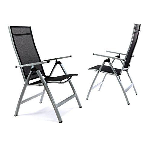 2er Set Deluxe Alu Stuhl extrabreit Klappstuhl Gartenstuhl verstellbar schwarz Hochlehner XL