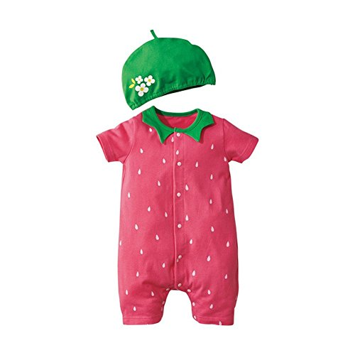 Jojobaby Baby Unisex 2Pcs Baby Clothes Fruit / Animal Bodysuit With Hats (90(9-12 Months), ()