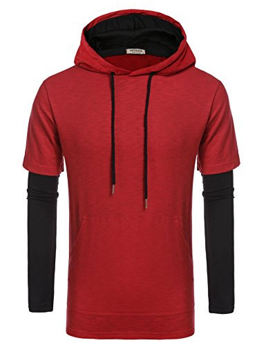 HOTOUCH Mens Hip Hop Longline Premium Tee Pullover Hooded Fashion T-shirt (Red ()