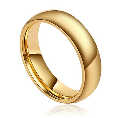 (Epinki Men's Tungsten Ring High Polished Half Round Light Comfort Fit Classy Dome Gold Size 13)