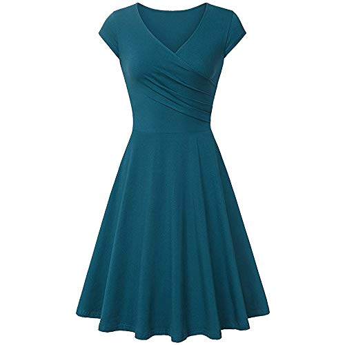 CCOOfhhc Summer Tshirt Dresses for Women Rockabilly Prom Dresses Retro Cocktail Swing Casual Party Dress Green ()
