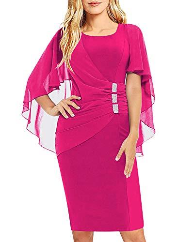 AUTCY Plus Size Dresses,Ladies Scoop Neck Ruffle Flattering Cape Sleeve Chiffon Dresses Wear to Work Sheath Dress Rose Red S