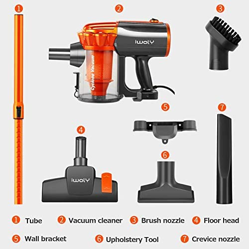 Stick Vacuum Cleaner Corded 23ft, iwoly Small Handheld Hardwood Floor Vacuum with HEPA Filter as Household Vacuum Cleaners, Adjustable Lightweight Vacuum Cleaner Pet Hair with Three Brush Head-Orange