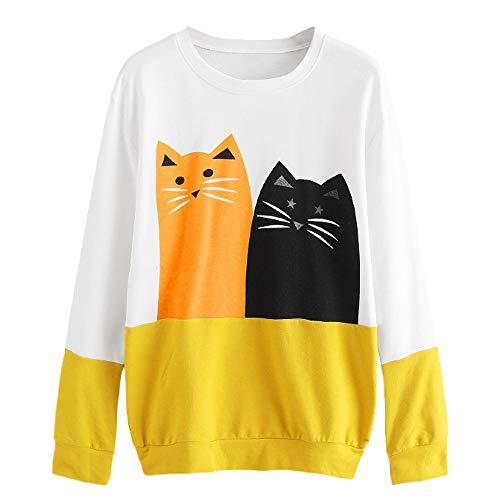 1/4 Reversible Jacket Zip (Gallity Clearance Womens Cat Printing Round Neck Long Sleeve Shirt Blouse Sweatshirt (XL, Yellow))