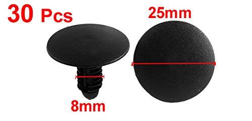 30 pezzi agganci plastica nera per paraurti Fasteners Clip 8mm foro