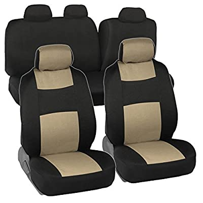 Full Set Black & Beige Seat Covers for Car Auto SUV Polyester Cloth - 60/40 Split Rear Bench